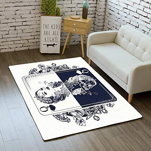 (iBathRugs Door Mat Indoor Area Rugs Living Room Carpets Home Decor Rug Bedroom Floor Mats,Queen Playing Card Art Nouveau)