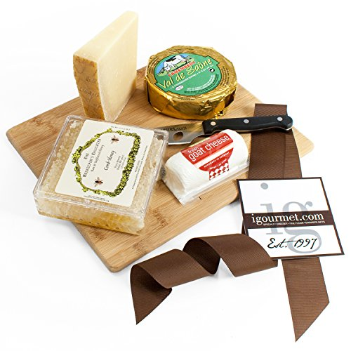 KaBloom Gift Basket Collection: The Honeycomb Cheese Board Gift Set of Gourmet Cheese, Raw Honey Comb, Bamboo Cheese Board and Cheese Cutting (Next Day Gift)