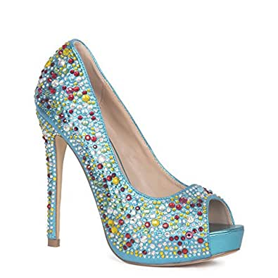 3b6fa0e4090 Lauren Lorraine Women s Candy Turquoise Bridal Formal Evening Party High  Heel Peep Toe Glitter Pump Size