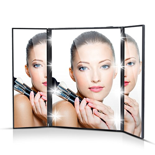 BeneU Trifold Mirror Makeup Two-Sided LED Light Travel - Makeup Travel Mirror