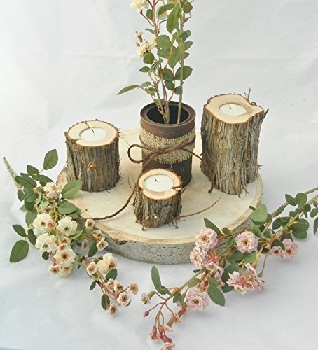Christmas Tablescape Decor - Handmade Juniper Wood Candle Holders - Set of 6 by Country Chapel Weddings