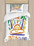 Lunarable Ibiza Twin Size Duvet Cover Set, Tropical Island Doodle with Summer Season Foliage and Palm Trees South Spain Europe, Decorative 2 Piece Bedding Set with 1 Pillow Sham, Multicolor