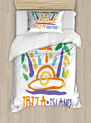 Lunarable Ibiza Twin Size Duvet Cover Set, Tropical Island Doodle with Summer Season Foliage and Palm Trees South Spain Europe, Decorative 2 Piece Bedding Set with 1 Pillow Sham, Multicolor by Lunarable