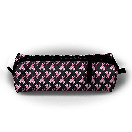Breast Cancer Pink Ribbon Pencil Case Cosmetic Bag Coin Pen Holder Stationery Pouch Zipper Makeup (Pink Ribbon Coin)