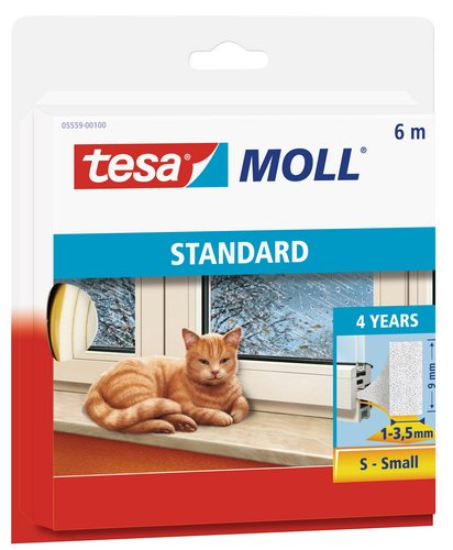 tesamoll Schaumstoffdichtung für Fenster und Türen, weiß, STANDARD, I-Profil, 6m