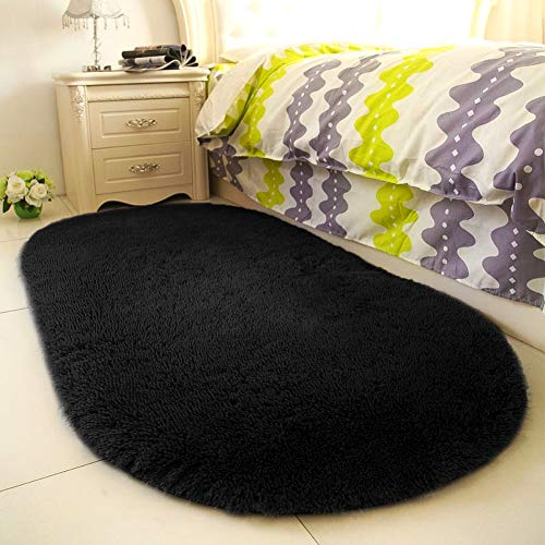 YOH Super Soft Area Rugs Oval Silky Smooth Bedroom Mats for Living Room Kids Room Optional Home Decor Carpets 2.6 x 5.3' (Black) (Teen Carpet)