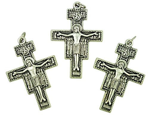 Lot of 3 San Damiano Cross of Saint Francis 2 Inch Silver Tone Crucifix ()