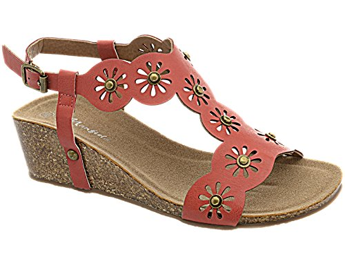 Ladies Manfield Faux Leather Look T Bar Summer Flower Wedge Peep Toe Beach Sandal Shoe Red VqsJlrlt