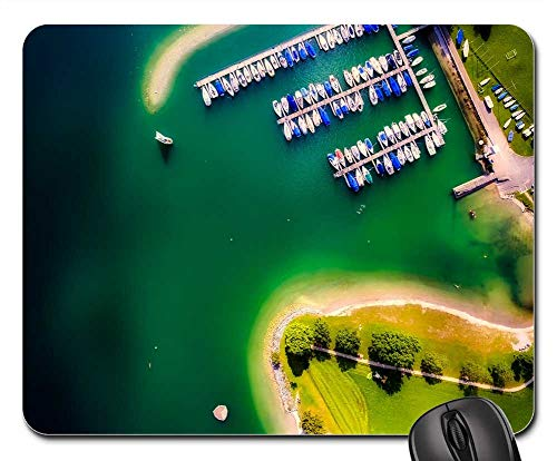 (Mouse Pad - Marina Bay Harbor Boats Lake Water Aerial View)