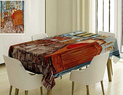 (Unique Custom Cotton And Linen Blend Tablecloth 4 Ailieo Unique Custom Flannel Blankets Van Gogh Rustic Van Gogh Artwork Oil Painting Reproduction FabTablecovers For Rectangle Tables, 70 x 52 Inches)