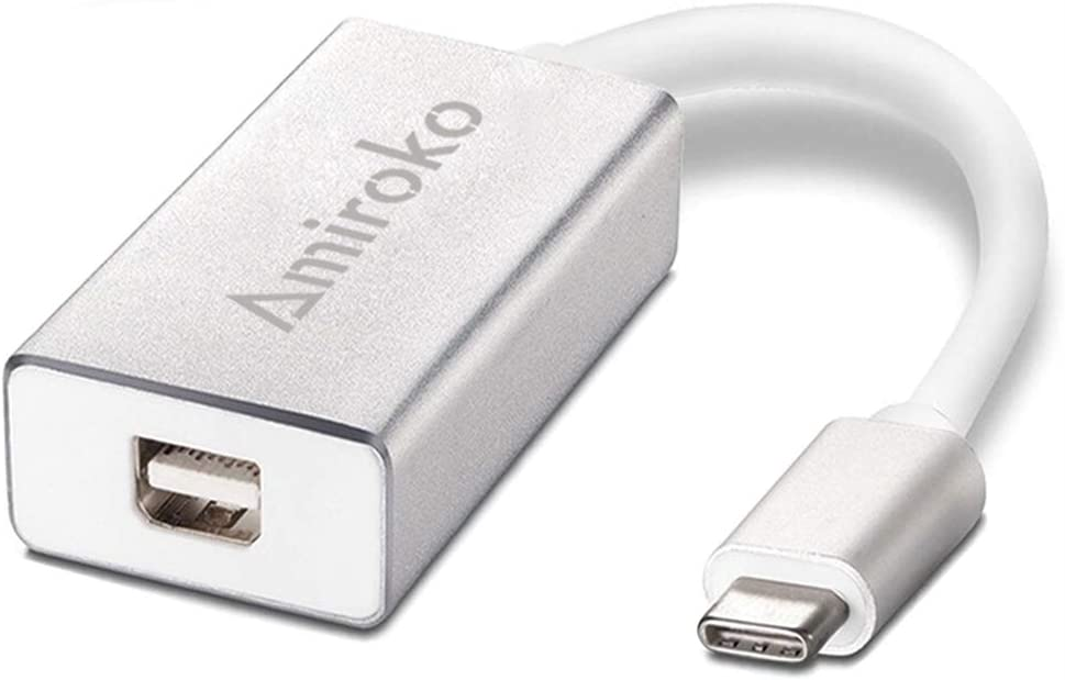 "Amiroko USB-C to Mini DisplayPort Adapter, USB 3.1 Type C to Mini DP Adapter Support 4K, 1080P Compatible with MacBook Pro, MacBook 12"", Alienware, to LED Cinema Display/ Dell Monitor etc, Silver"