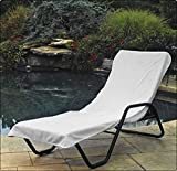 LUNASIDUS, Hotel / Pool Lounge Chair Cover, 100 Percent Turkish Cotton, White (34″W x 90″L)