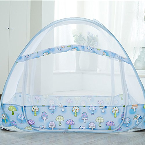 Sinotop Zippered Baby Mosquito Net Foldable Baby Bed Kids Tent Nursery Crib Canopy Netting Folding Cot Mosquito Net (LWH:1407590cm)