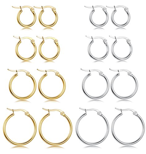 LOYALLOOK Stainless Steel Rounded Small Hoop Earrings Set for Women Nickel Free 8 Pairs White&Gold