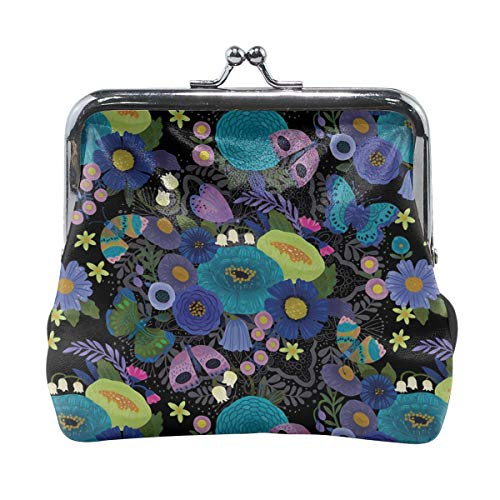 Mandala Pattern Lotus Coral Blue Butterfly Vintage Pouch Girl Kiss-lock Change Purse Wallets Buckle Leather Coin Purses Key Woman Printed