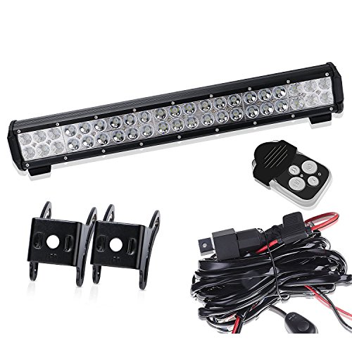 TURBOSII 20Inch Led Light Bar On Front Rear Bumper Brush Bull Bar Grille Reverse Trails Lights For 4 Wheeler Honda Rancher Atv Utv RZR Toyata Tacoma Boat Ford Polaris RTV Jeep TJ Wrangler Chevy (Gmc Sierra 2500 Front Door)