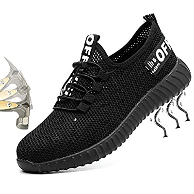 Getch Steel Toe Work Safety Shoes Mens Womens, PPTA Puncture Proof, Lightweight Sport Sneakers, Non-Slip Casual Breathable Protection Footwear