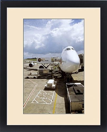 Framed Print of Thai Boeing 747 during turnround at Auckland Airport, New Zealand by Fine Art Storehouse