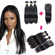 Brazilian Hair 3 Bundles with Closure, Unprocessed Straight Virgin Human Hair Extensions , 4x4 Lace Free Part Closure Natural Color (10 12 14with8, natural color)