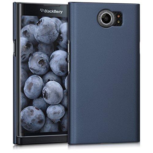 kwmobile Case for BlackBerry Priv - Hard Plastic Anti Slip Grip Shockproof Protective Phone Cover - Dark Blue Matte