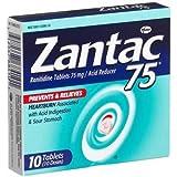 Zantac 75 Ranitidine Tablets 75 mg/Acid Reducer - 10 ea (3 Pack)