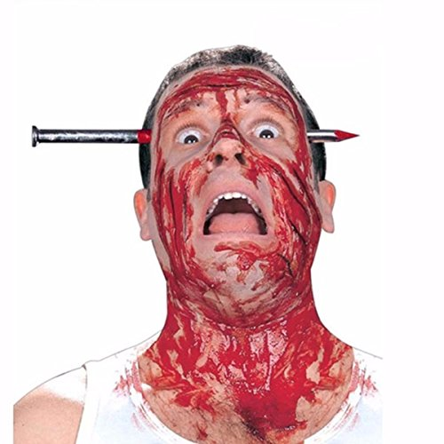BESTOYARD Halloween Trick Prank Tool Creative Bloody Nail Through Head Spoof Prop for April Fool's Day