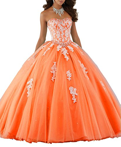 s Lace Applique Princess Ball Gown Homecoming Formal Strapless Quinceanera Dress Orange US10 ()