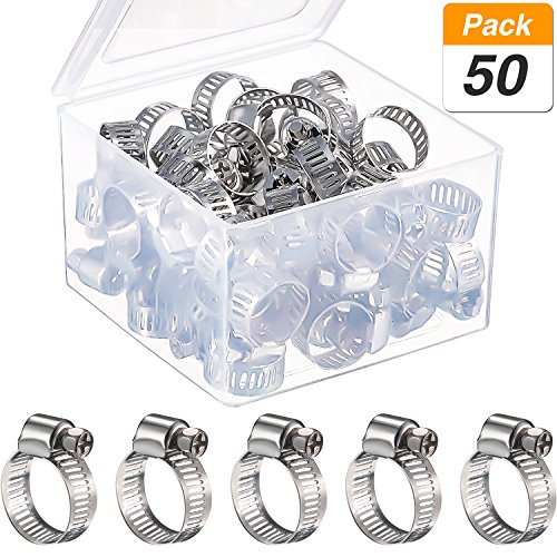 Jovitec 50 Pieces 9-16 mm Adjustable Stainless Steel Worm Drive Pipes Hose Clamps Clips with Storage Box by Jovitec