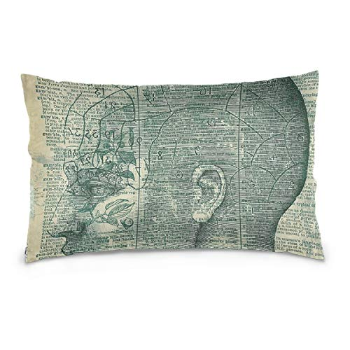 ers 20x30 inch Phrenology Head 100% Cotton Canvas Embroidered for Home Decorative ()