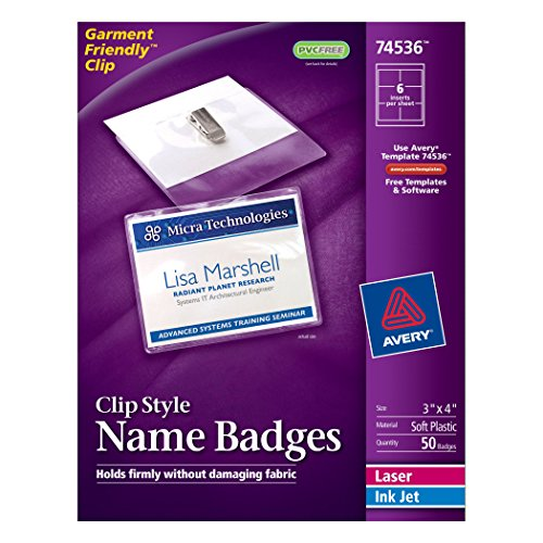 avery id badge template - avery top loading garment friendly clip style name badges