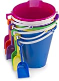 "Kids Assorted 9"" Sand Bucket Set 6 Pack with Shovels 