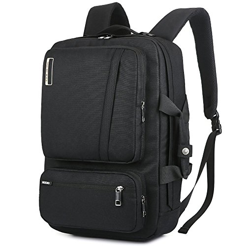 Convertible Computer Briefcase - SOCKO 17 Inch Laptop Backpack Convertible Backpack Travel Computer Bag Hiking Knapsack Rucksack College Shoulder Back Pack Fits up to 17 Inches Laptop Notebook for Men/Women, Black