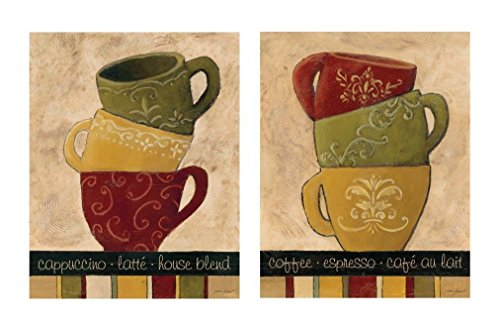 2 Coffee Stacked Cups Art Prints Posters Vintage Retro Cafe Home Kitchen Decor 8x10 (Vintage 2 Cup)