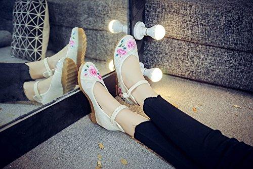 Pisos Beige Mujeres Bordado Casuales Suela Zapatos Cuñas Espesa Flores Mary Janes 6BqFx7