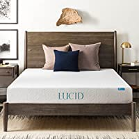 LUCID 8 Inch Gel Infused Memory Foam Mattress - Medium Firm Feel - CertiPUR-US Certified - 10 Year warranty - Queen