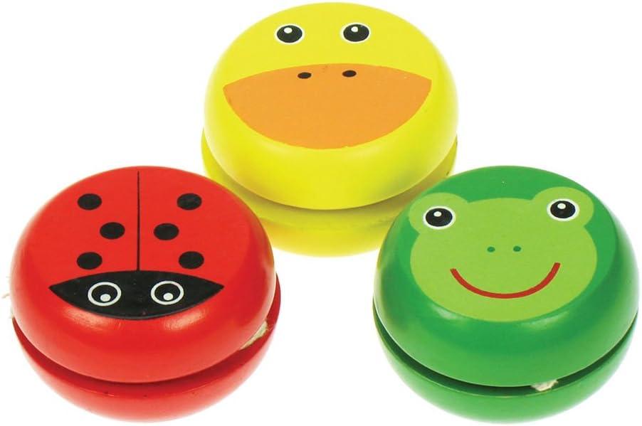 Bigjigs Juguetes de Madera de yo-yo Animal - Peque?os Regalos Dinero de Bolsillo Juguetes Pack de 3