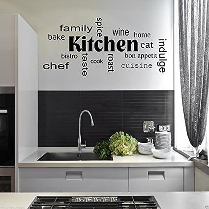 Wall Smart Designs Adesivi da Parete con Parole Relative alla Cucina ...
