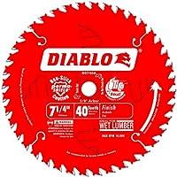 Freud D0740A Diablo 7-1 /4 Hoja de sierra de acabado ATB de 40 dientes con eje de 5/8 pulgadas, nocaut de diamante y revestimiento PermaShield