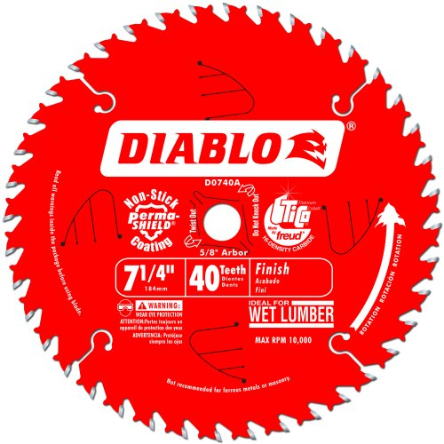 - Freud D0740A Diablo 7-1/4 40 Tooth ATB Finishing Saw Blade with 5/8-Inch Arbor, Diamond Knockout, and PermaShield Coating