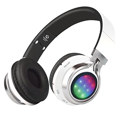 Riwbox WT-07 Folding Wireless Bluetooth Stereo Headphones Adjustable Headsets with 3 LED lights (white)