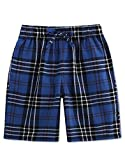 TINFL Boys Plaid Check Soft 100% Cotton Lounge Shorts BSP-15-Blue-YM
