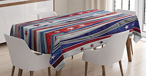 Ambesonne Rustic Home Decor Tablecloth by, Digital American Flag Colored Wood Stripes with Ornate Star Figures Image, Dining Room Kitchen Rectangular Table Cover, 60W X 84L Inches, Red Blue
