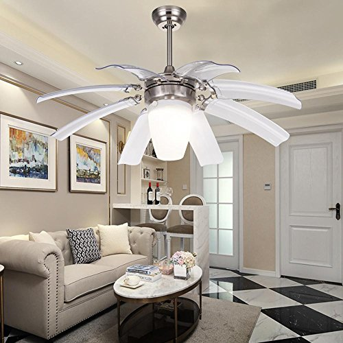 8 Light Contemporary Chandelier (LuxureFan Simple Modern Ceiling Fan Light for Contemporary Living Room Bedroom Restaurant with Eight Retractable ABS Transparent Leaves and Take-Off Chandeliers (Sand Nickel))