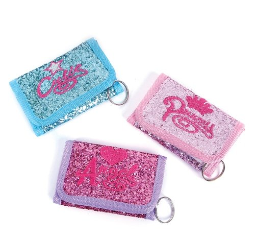4.25''x2.5'' GLITTER WALLET WITH SAYINGS, Case of 288