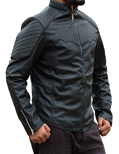 Christian Bale Begins PU Jacket Leather Costume For Halloween (2XL) (Original Bane Costume)