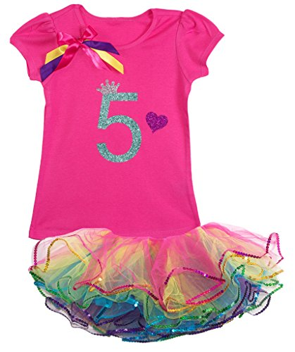 Bubblegum Divas Little Girls' 5th Birthday Rainbow Tutu Outfit 6X (Disco Themed Clothes)