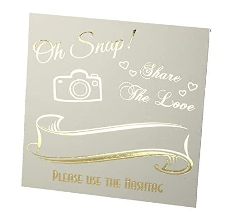 Hashtag Signs Gold Foil 25 Pack Off White Cardstock Wedding Table Top Oh Snap Sign Elegant Quality Hashtag Photo Sign For Instagram Table Top