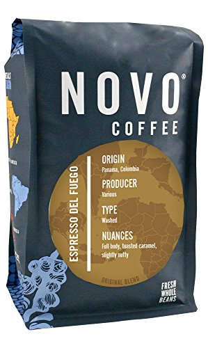 "Novo Coffee ""Espresso Del Fuego"" Dark Roasted Whole Bean Coffee (South America) - 12 Ounce Bag"