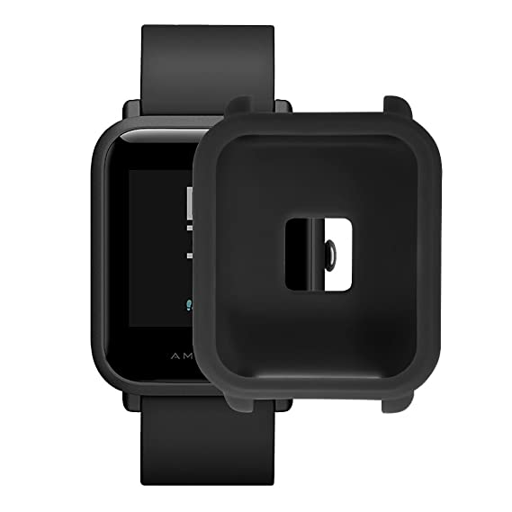 Soft TPU Protection Silicone Full Case Cover for Huami Amazfit Bip Youth Watch (Black)