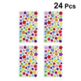 YeahiBaby Star Stickers Self Adhesive Sticky Colorful Label Paper Label for Office 24pcs
